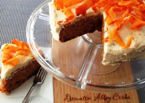 Guilt free carrot cake moistened with applesauce not oil. Save even more calories by omitting a topping.