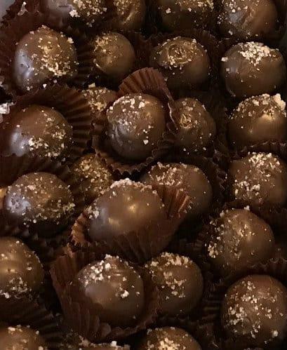 Sparkly Salted Caramel Dark Truffles
