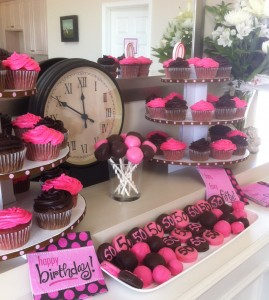 My birthday dessert bar: pink velvet and chocolate cupcakes, cake pops and cake balls, chocolate covered oreos.