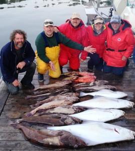 Happy fishermen with their bottom catch