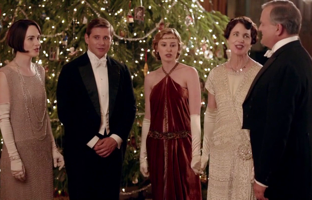 caroling by the christmas tree itv - Downton Abbey Christmas Special